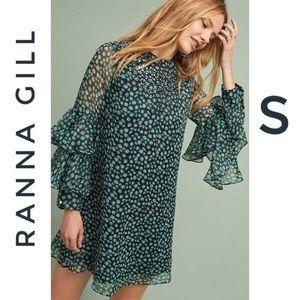Anthro Ranna Gill Flutter Sleeve print tunic dress